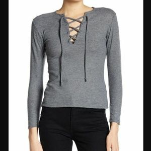 Go Couture Lace Up Sweater Sz M Gray Long Sleeve